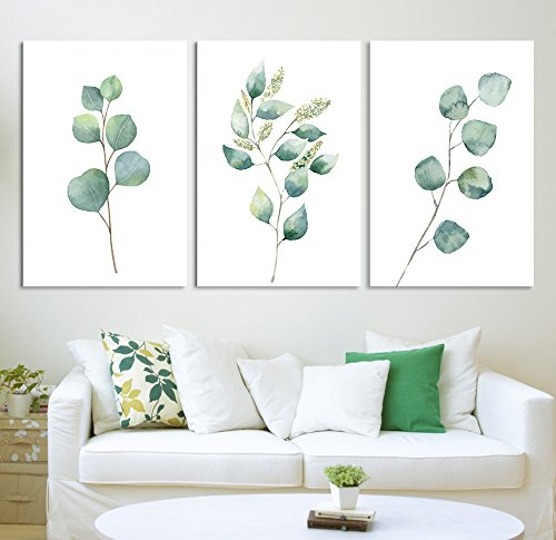 Tropical Plant Leaves Wall Decor x 3 Panels
