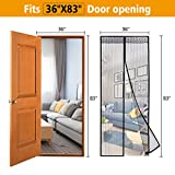 PATHONOR Magnetic Screen DoorStrong Magnets With Self-Seal Open And Close Automatically Design,Keep Fly Bug Out, Full Frame Velcro Fits Door Openings Up To 36 x 83-Inch Max