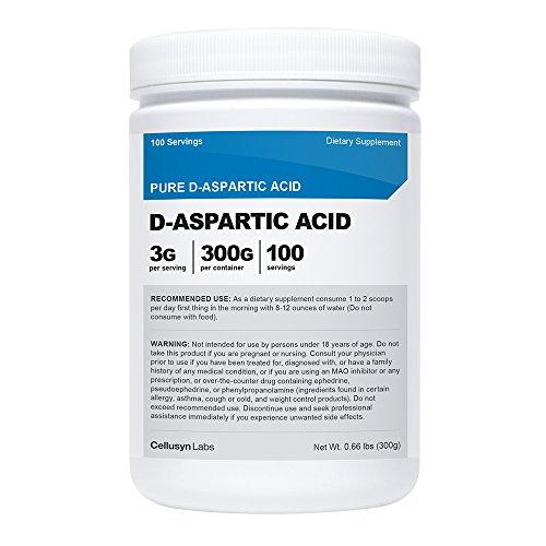 Cellusyn D-aspartique acide (DAA) poudre - acide aspartique pur D 300 grammes - les niveaux de testostérone de Boost