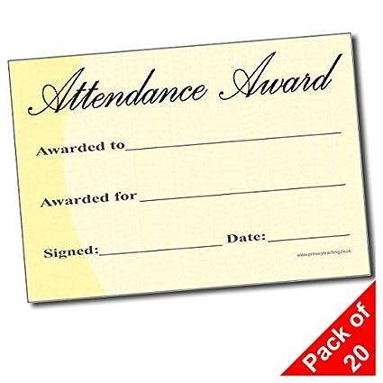 amazon com aac pack of 20 attendance award a5 certificates