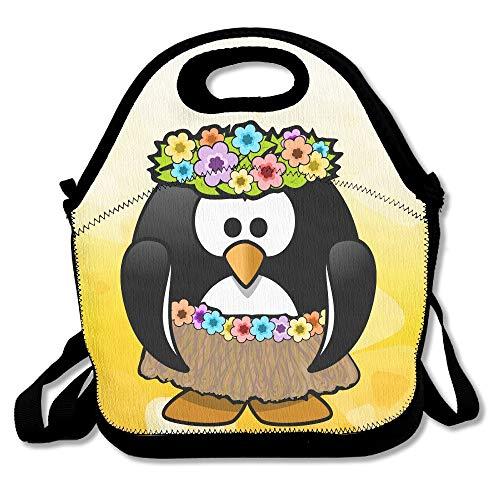 Vintage Hawaiian Hula Penguin Girl Multifunctional Lunch Tote Bag Carry Box -