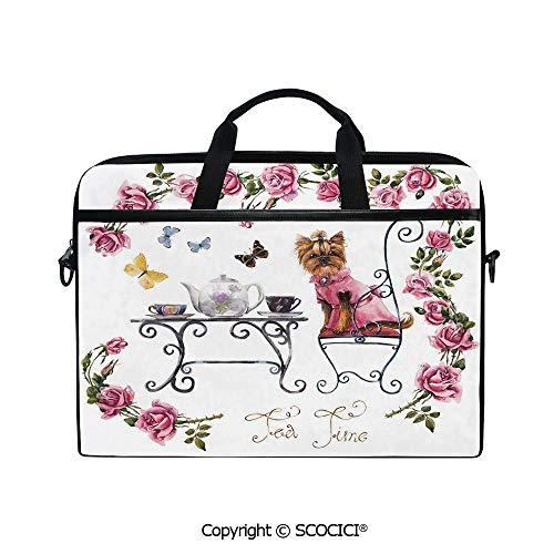 Sleek Tea Dress - Customized Printed Laptop Bag Notebook Handbag Yorkshire Terrier in Pink Dress Having a Tea Party Tea Time Butterflies Roses Decorative 15