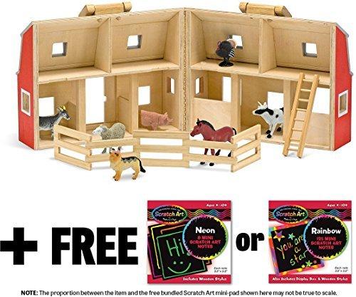 (Fold & Go Wooden Barn Farm Blocks 36-piece Play Set + FREE Melissa & Doug Scratch Art Mini-Pad Bundle [37006])