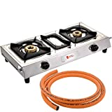 Blue Eagle Luxmi Classic D.T Stainless Steel 2 Burner Gas Stoves With 1.5 Meter Lpg Hose Pipe Combo