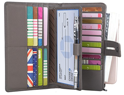 YALUXE Women's RFID Blocking Leather Large Capacity Wallet with Removable Checkbook Holder Light Grey