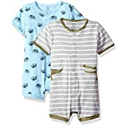 Carter's Baby Boys' 2-Pack Snap up Romper, Crocodile/Elephant, 9 Months
