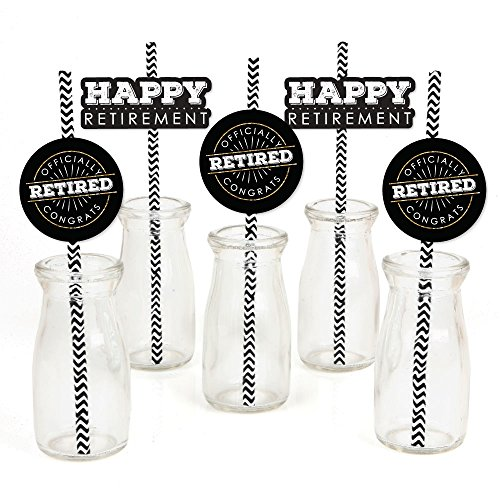 Happy Retirement - Paper Straw Decor - Retirement Party Striped Decorative Straws - Set of 24