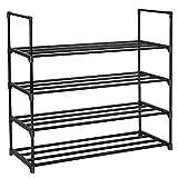 SONGMICS 4-Tier Shoe Rack 20 Pairs Metal Shoe Tower Shelf Storage Organizer Cabinet 35.6' L x 11.9' W x 33.3' H Black ULSA14BK