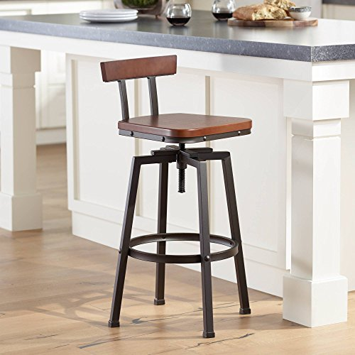 Fine Roark Dark Wood And Bronze Adjustable Swivel Barstool Elm Lane Gmtry Best Dining Table And Chair Ideas Images Gmtryco