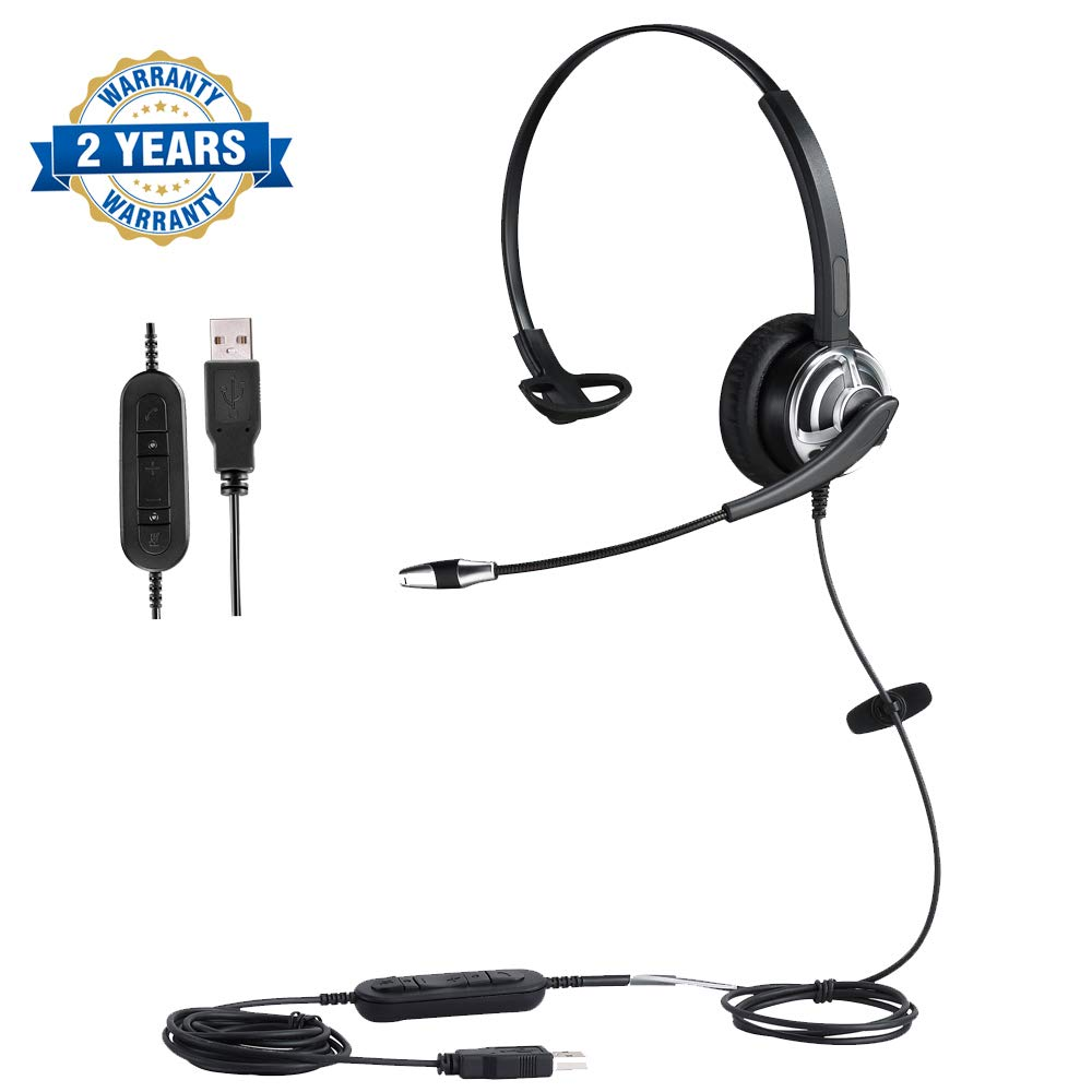 USB Headset with Microphone Noise Cancelling Skype Headset with Volume Control for Computer Voice Chat Online Courses Conference Calls