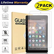 All-New Fire HD 8 Tablet Screen Protector(both 2017 and 2016 Release),DHZ Tempered Glass Screen Protector Film for Amazon Fire HD 8 2017/2016 [9H Hardness] [Crystal Clear] [Bubble Free]