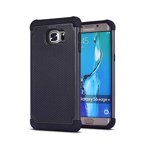Galaxy s6 Plus edge case Shockproof Armor Silicone Hybrid Rugged Cover Case for Samsung Galaxys s 6 edge Plus - Black