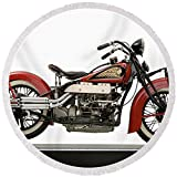 Pixels Round Beach Towel With Tassels featuring ''1937 Indian Twin Carburetor 1265cc'' by Pixels