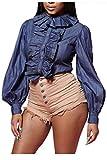 Women Casual Ruffle Button Up OL Office Top Puff Sheer Denim Blouse Blue XL
