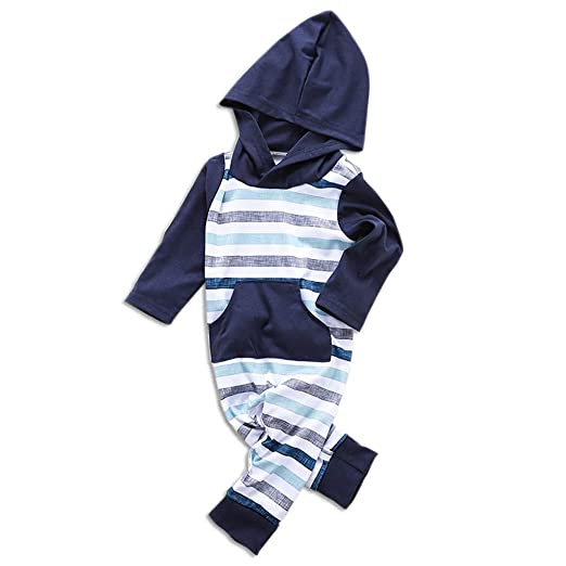 adc1ad0c6 Amazon.com  Hauzet Baby Boy Girl Striped Hooded Jumpsuit Clothes ...