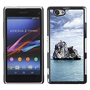 LECELL -- Funda protectora / Cubierta / Piel For Sony Xperia Z1 Compact D5503 -- Nature Lonely Castle Rock --