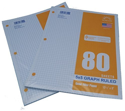 Graph Filler Paper 5x5 Ruled 2 Pack of 80 Sheets (Inch Grid Paper)