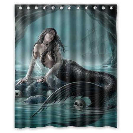 LIBIN Mermaid Custom Polyester waterproof Bath Shower Curtain Rings Included 72W By 72 L