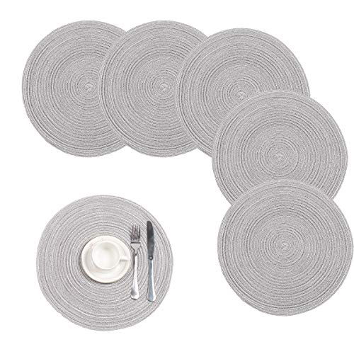 Pauwer Large Cotton Braided Round Placemats for Kitchen Dining Table Woven Round Table Place mats Washable,Set of 6