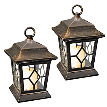 Good GardenKraft 18420 Table/Hanging LED Solar Flickering Candle Lantern Lights  (Pack Of 2)