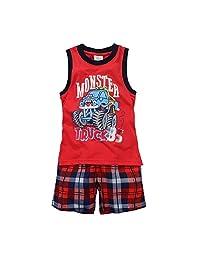 Hooyi Baby Boy Sleepwear Cotton Children Sleeveless Monster Truck 85 Pajamas Set