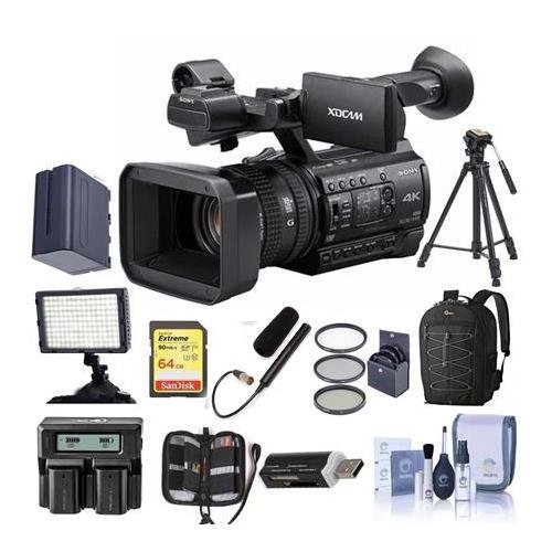 Sony PXW-Z150 Compact 4K Handheld XDCAM Professional Camcorder - Bundle With 64GB U3 SDHC Card, Spare Battery, 62mm Filter Kit, Video Light, Video Bag, Shotgun Mic, Cleaning Kit, And More by Sony