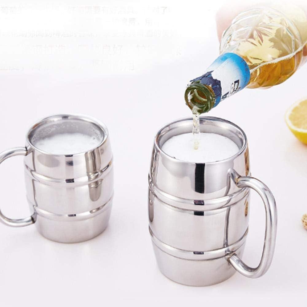 Juego de té Tazas Forma de Barril Taza de Cerveza de Acero Inoxidable Ed Camping Drinkware Taza de Vodka Taza de té Tazas de café Vaso de Viaje, 401-5