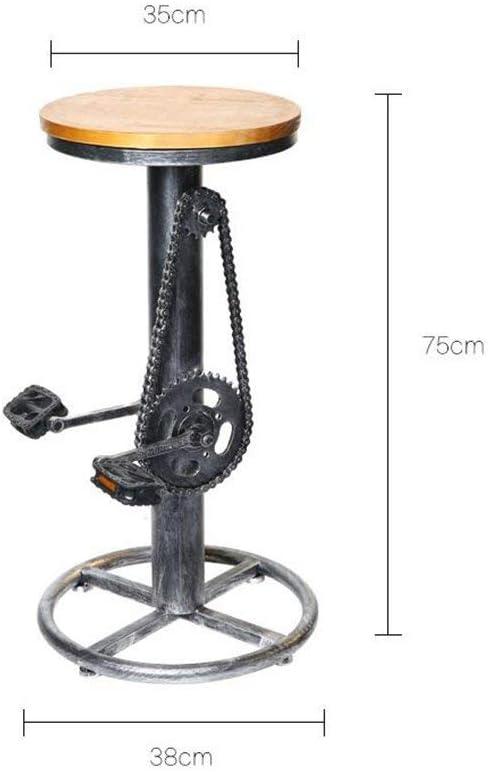 STOOL Taburete de barra de madera de hierro forjado de estilo industrial retro Taburete de forma de bicicleta Taburete de bar de café creativo de alta moda Taburete,38 * 38 * 75 cm
