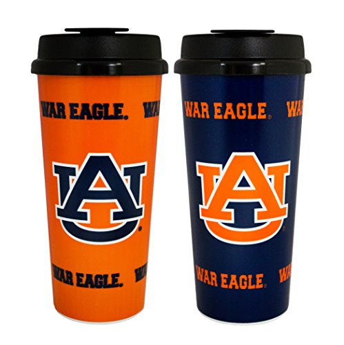 Auburn Tigers Thermos - GameDay Novelty NCAA Auburn Tigers Insulated Travel Tumbler with No Spill Flip Lid, 16 oz, 2 Pack