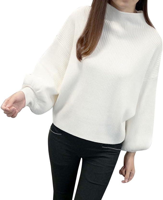 Pullover Sweatshirt SUNNSEAN Damen Langarmshirt Einfarbig