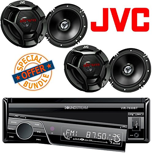 "Soundstream Single-Din Bluetooth Car Stereo DVD Player with 7-Inch LCD Touchscreen (4) JVC 6.5"" 600 Watt 2-Way Car Audio Speakers"