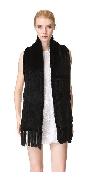 Vogueearth Donna Vero A Maglia Visone Pelliccia Autunno Inverno Lungo  Sciarpa Nero  Amazon.it  Abbigliamento c078b180f791