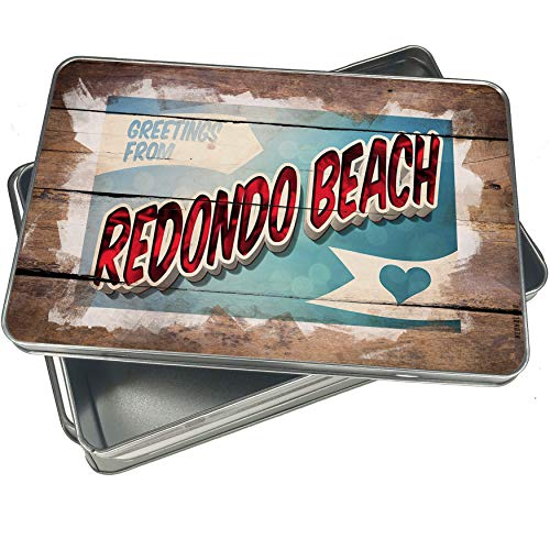NEONBLOND Cookie Box Greetings from Redondo Beach, Vintage Postcard Christmas Metal Container