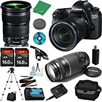 Canon EOS 6D Camera with 24-105mm IS STM Lens + 75-300mm III Zoom + 2pcs 16GB Memory + Camera Case + Card Reader + Professional Tripod + 6pc Starter Set - International Version