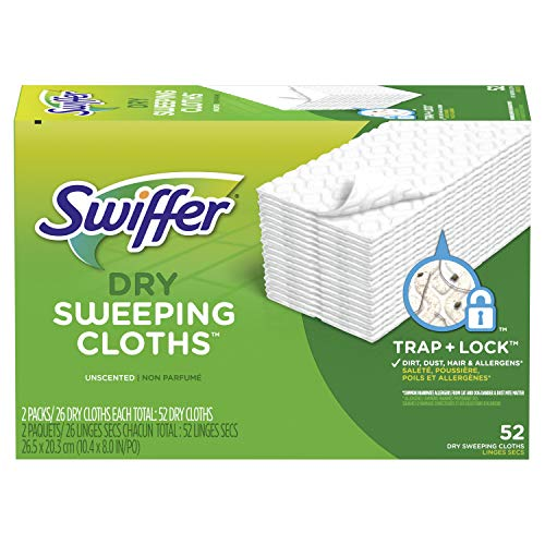 Swiffer Sweeper Dry Mop Refills for Floor Mopping and Cleaning, All Purpose Floor Cleaning Product, Unscented, 52 Count…