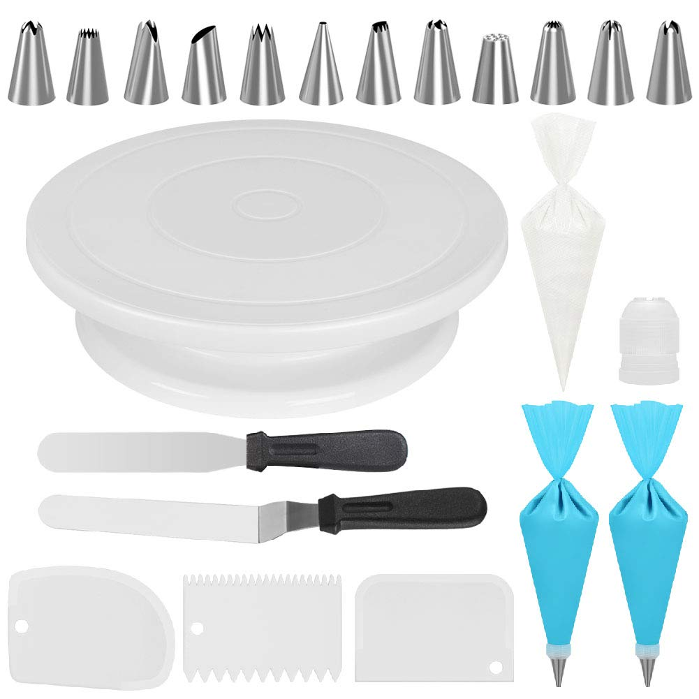 Kootek Cake Decorating Kits Supplies with Cake Turntable, 12 Cake Decorating Tips, 2 Icing Spatula, 3 Icing Smoother/Scrapers, 2 Silicone Reusable Piping Bag, 50 Disposable Pastry Bags and 1 Coupler
