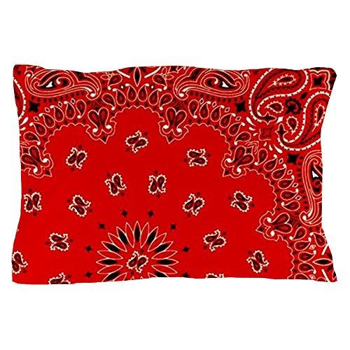 CafePress - BBQ Red Paisley Bandana Scarf Western Fabric Print - Standard Size Pillow Case, 20