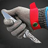 Protective Gloves, Cut Resistant Gloves, 316 Stainless Steel Steel Wire Cut-Proof Gloves Clipping Protection Gloves Stab-Proof Metal Iron Gloves(Single Gloves)
