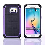 S6 Edge Case, Galaxy S6 Edge Case, 2-in-1 [TPU Inner + Hard PC Outer] Hybrid Defender Heavy Duty Case [Shockproof] [Anti-slip] Dual Layer Protective Case for Samsung Galaxy S6 Edge (Purple)