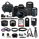Canon EOS Rebel T6i Digital Camera: 24 Megapixel 1080p HD Video DSLR Bundle With 18-55mm & 75-300mm Lens 32GB SD Card Tripod Filter Kit Bag Flash & More- Professional Vlogging Sports and Action Camera
