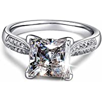 2ct Princess Cut AAA CZ 925 Silver Womens Engagement Wedding Band Ring Size 4-9 By Wat (8.5)
