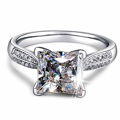 Engagement Best Ring Cut - 2ct Princess Cut AAA CZ 925 Silver Women's Engagement Wedding Band Ring Size 4-9 By Wat (8.5)