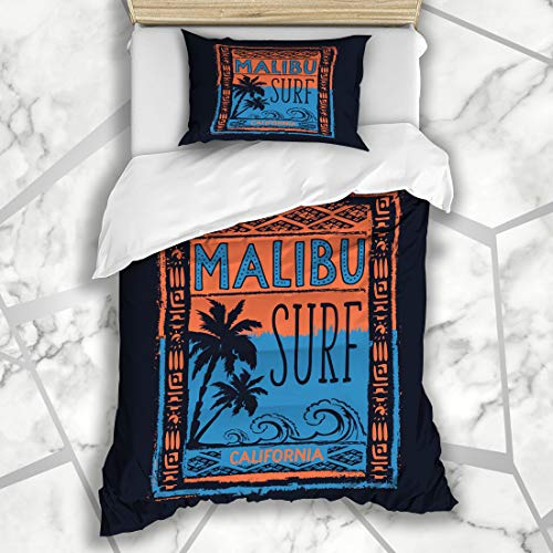 Ahawoso Duvet Cover Sets Twin 68X86 Summer Beach Surf Sport Malibu Tee Recreation Graphic Vintage Label Angeles Badge Board California Microfiber Bedding with 1 Pillow Shams