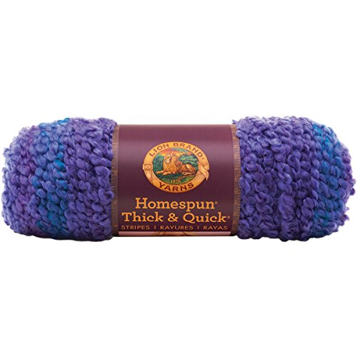 Lion Brand Yarn 792-208 Homespun Thick and Quick Yarn, Violet Stripes
