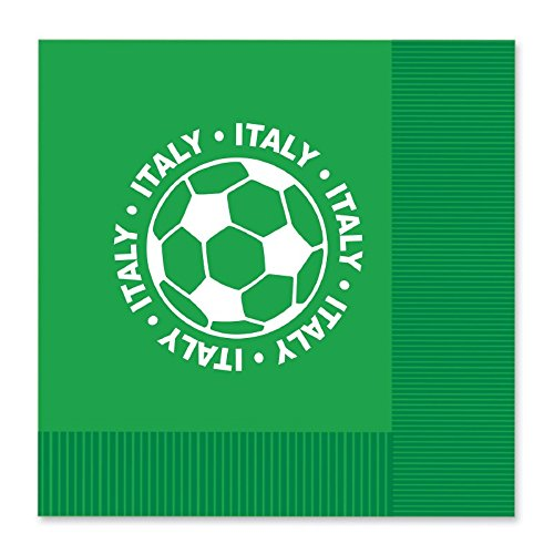 Club Pack of 192 Green and White 2-Ply ''Italy'' Soccer Ball Paper Party Lunch Napkins 6.5'' by Party Central