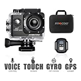 4K Action Camera Touchscreen, SOOCOO S100 Pro Sports Camera Ultra HD WIFI Action Camera Waterproof 20MP 170°Wide-Angle Lens 2'' LCD Screen 2.4GHz Remote Control/2 Batteries/Free Travel Bag-Black
