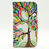 Galaxy S5 Case,S5 Case,JanCalm [Perfect Fit] [Kickstand] Pattern Premium PU Leather Wallet [Card/Slots Cash] Flip Cover for Samsung Galaxy S 5Including - ONE Crystal Pen(Beautiful tree)