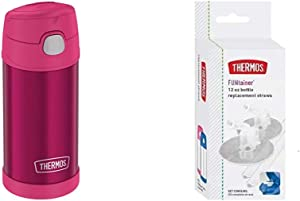 Thermos Pink Funtainer 12 Ounce Bottle & Replacement Straws for 12 Ounce Funtainer Bottle, Clear