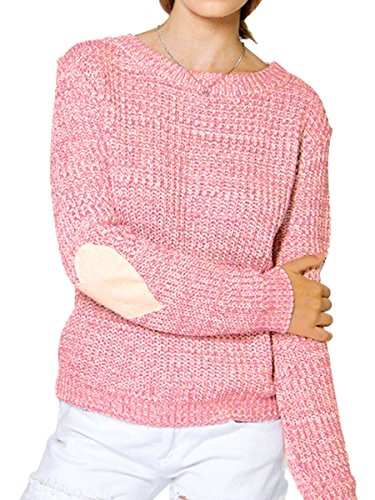 Summer Mae Women's Heart Pattern Patchwork Knitted Sweater Round Neck Loose Pullover ()