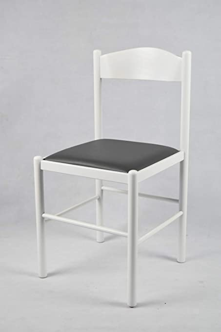 Tommychairs Set 2 sedie classiche Pisa 38 per cucina bar e sala da pranzo, robusta struttura in legno di faggio verniciata laccata bianco e seduta